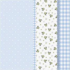 Serviettes papier bleu patch liberty - Lot de 20