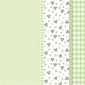Serviettes papier vert patch liberty - Lot de 20