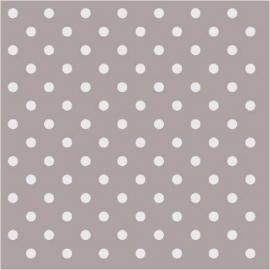 Serviettes papier taupe pois blancs - Lot de 20