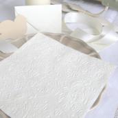Serviettes baroques gaufrées ivoire - 12 serviettes