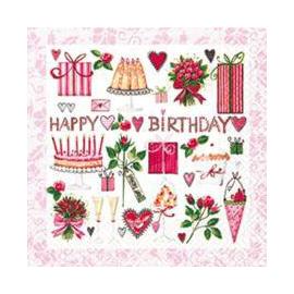 Serviettes papier Lovely Birthday - Lot de 20
