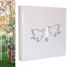 Livre d'or colombes et breloques coeurs - Sachet individuel