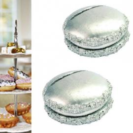 Marque-place macaron argent - Sachet de 2