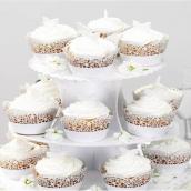 Serviteur cupcake carton 4 plateaux décors dentelle et papillon