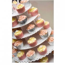 Grand serviteur cupcake carton 6 plateaux décors dentelle et papillons