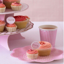 Assiettes gâteaux feston rose pois blancs - Lot de 8