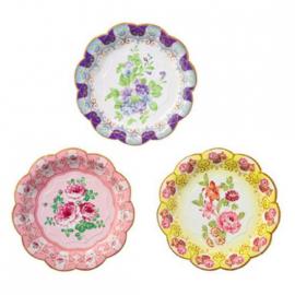 Assiettes gâteaux fleurs vintage - Lot de 12