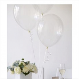 Ballons transparents et leur ruban - Lot de 20