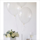 Ballons transparents et leur ruban - Lot de 20