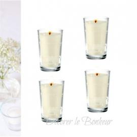 Bougies verrines blanches - Lot de 6