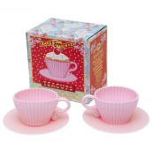 Moules à cupcake tasse rose - Coffret de 2