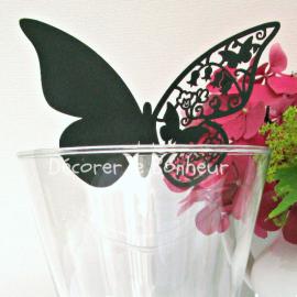 Marque place grand papillon dentelle noir - Lot de 10