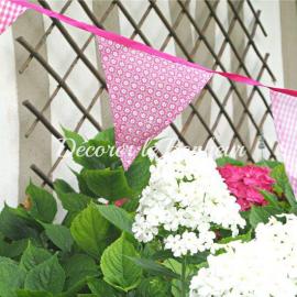 Guirlande de fanions tissu patch rose - 3 mètres