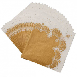 Serviette papier jolie table gold - Lot de 20