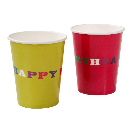 Gobelets happy birthday pop color - Lot de 8