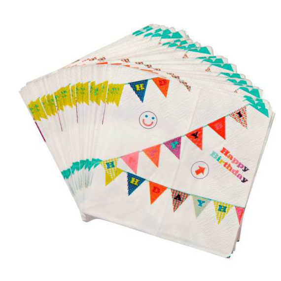 Serviettes cocktail happy birthday pop color - Lot de 20