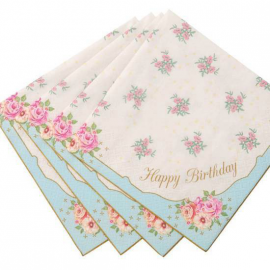 Serviettes vintage roses happy birthday - Lot de 20