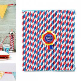 Pailles papier vintage rouge et bleu - Lot de 30 assorties