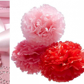 Trio grands pompoms papier gamme Candy
