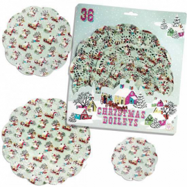 Assortiment napperons papier noël rétro - Lot de 36