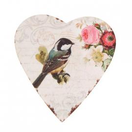 Magnet coeur vintage bel oiseau