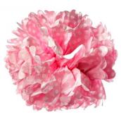 Grand pompom rose pois blanc