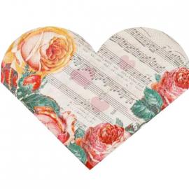 Serviettes coeur romance rétro - coffret de 15