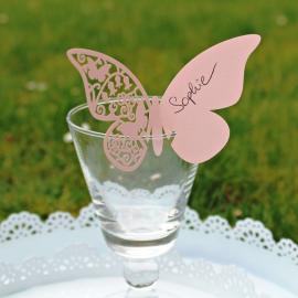 Marque place grand papillon dentelle rose - Lot de 10