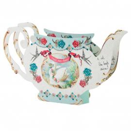 Vase théière perles et fleurs