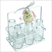 Panier mini bouteilles de lait rétro - Lot de 6