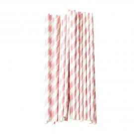 Pailles papier vintage rayures rose poudré - Lot de 25