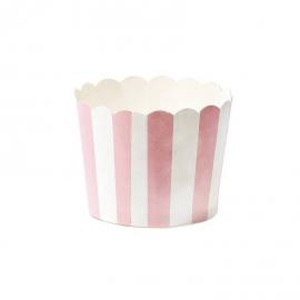 Caissettes cupcake rayures roses - Lot de 24