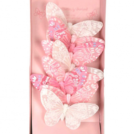 Guirlande papillons pastel rose