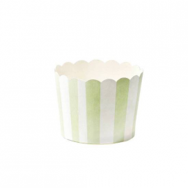 Caissettes cupcake rayures vertes - Lot de 24