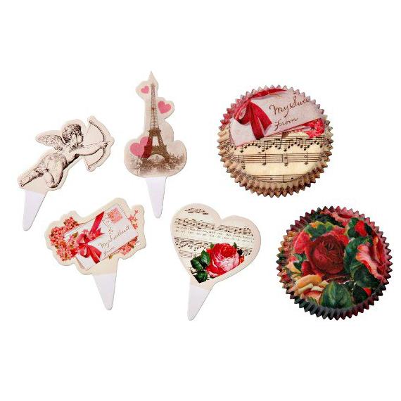 Coffret caissette cupcake romance rétro