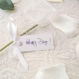 Marque place étiquette blanche et ruban satin - Lot de 12