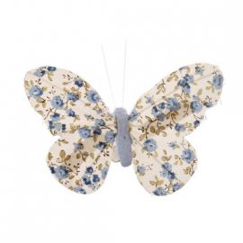 Papillon clip fleurettes liberty bleu