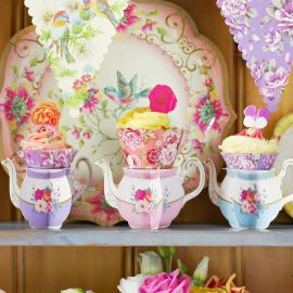Mini serviteur théière cupcake - Lot de 6