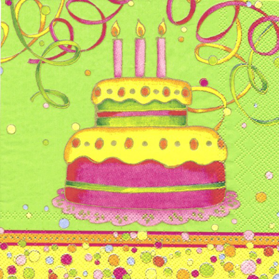 serviettes papier Birthday Cake - 20 serviettes