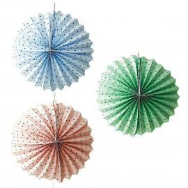 3 lanternes papier rondes à pois - 20 cm