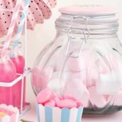 Bonbonnière verre décor cupcake rose