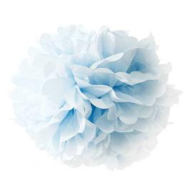 Grand pompom papier bleu
