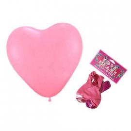 Ballons coeurs - sachet 9 coeurs rouges et roses