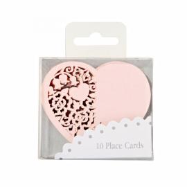 Marque place coeur dentelle rose - Lot de 10