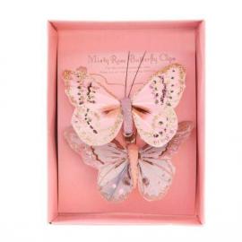 Papillons duo paillettes rose parme - boite de 2