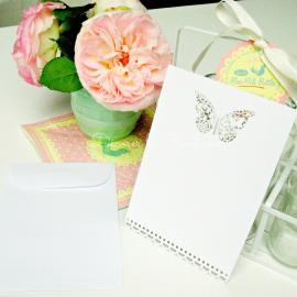 Invitations papillons et enveloppes - Set de 10