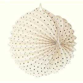 Lanterne papier ronde écrue à pois - 26 cm