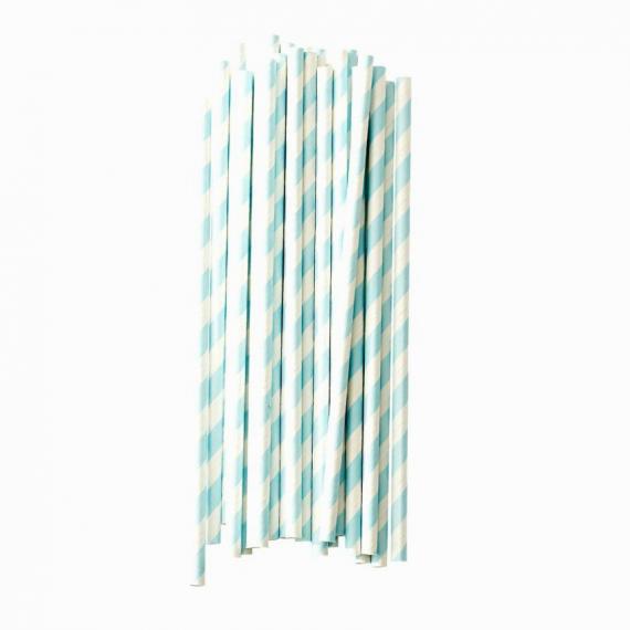 Pailles papier vintage rayures bleues - Lot de 25