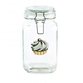 Bocal haut verre décor cupcake