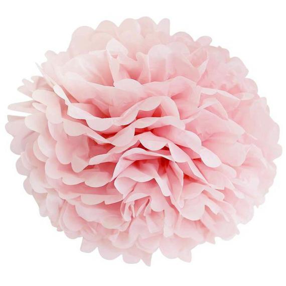 Grand pompom papier rose